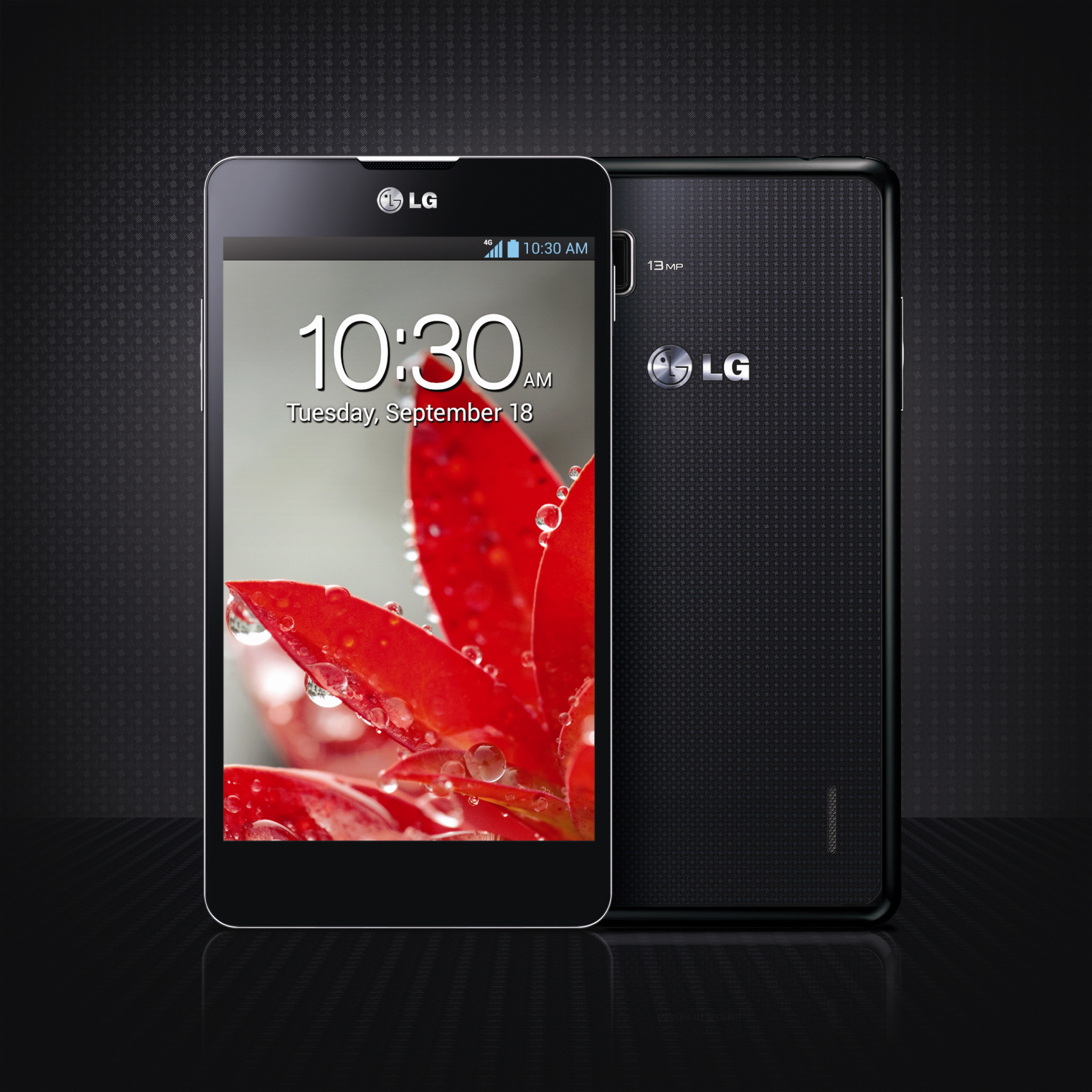 Front and rear views of LG Optimus G