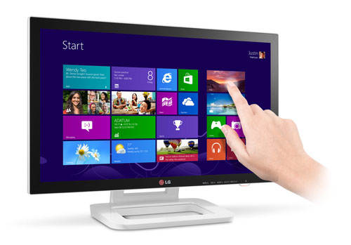 A hand touches the display of LG' Touch 10 monitor model ET83.