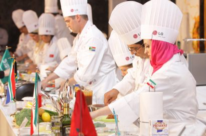 Participating chefs from across the world cooking during the competition