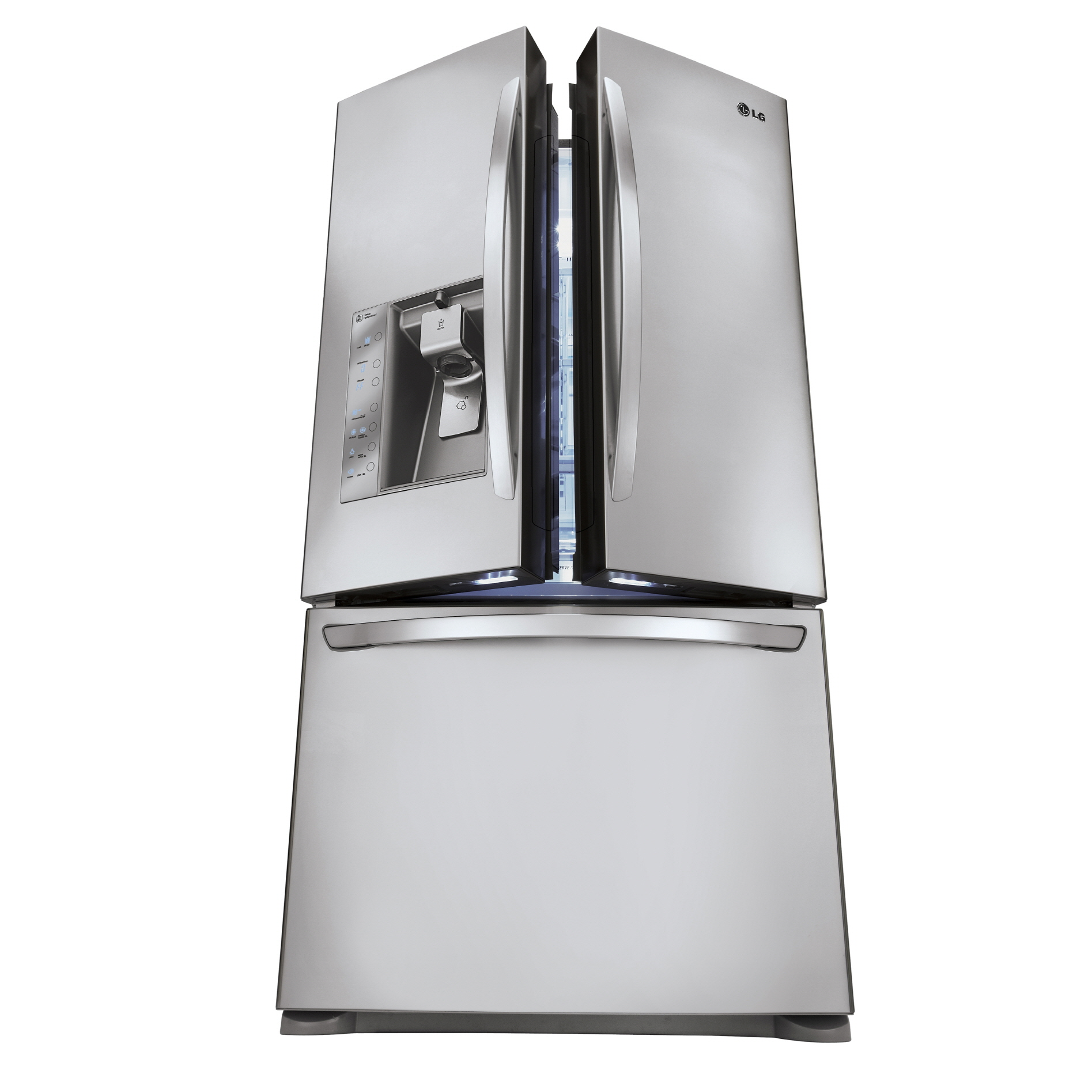 A picture of the LG French-door refrigerator (model LFX31935) opened up at an angle of approximately 15 degrees