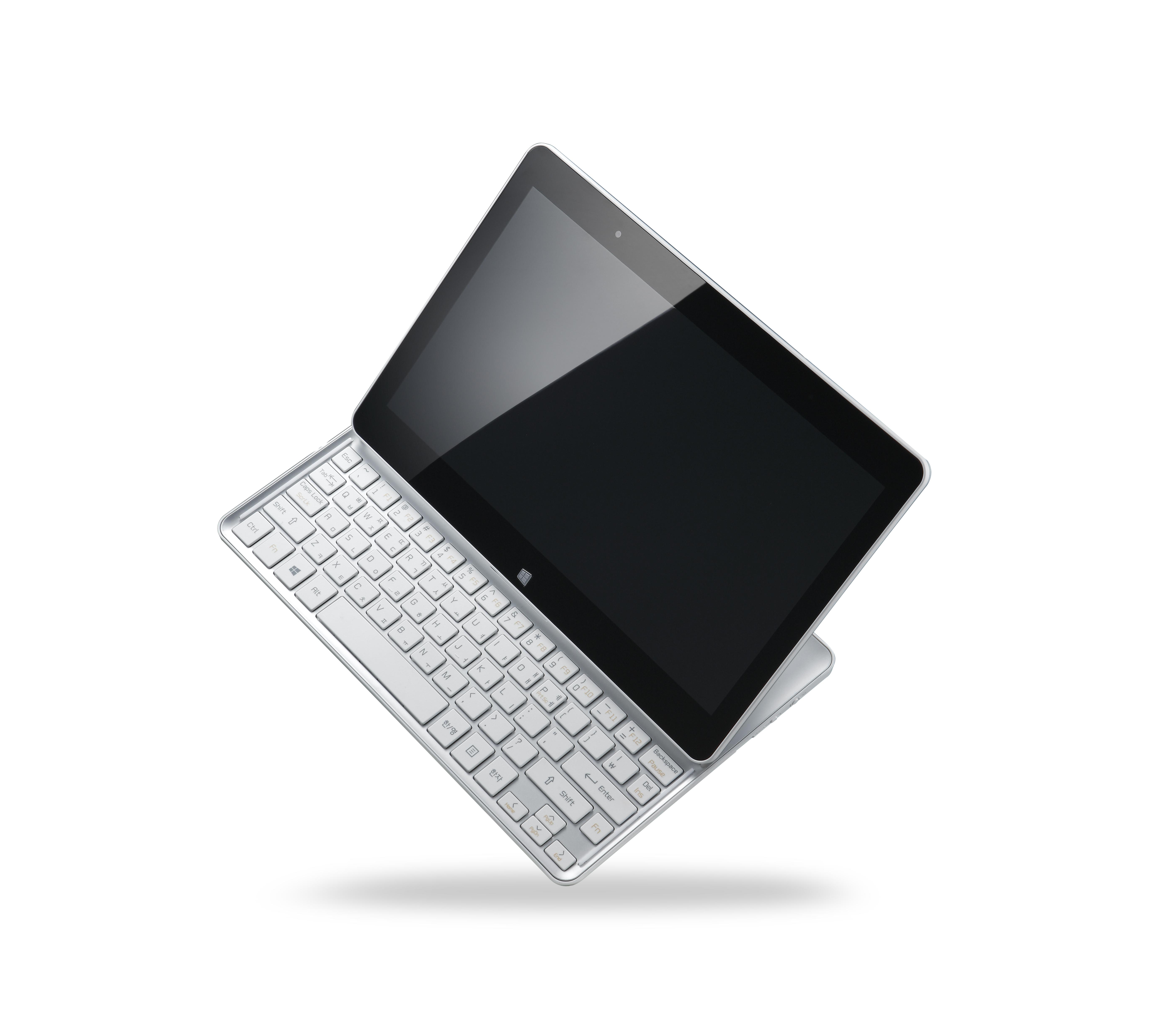 LG Tab-Book Ultra model Z160 balancing on its bottom right corner.