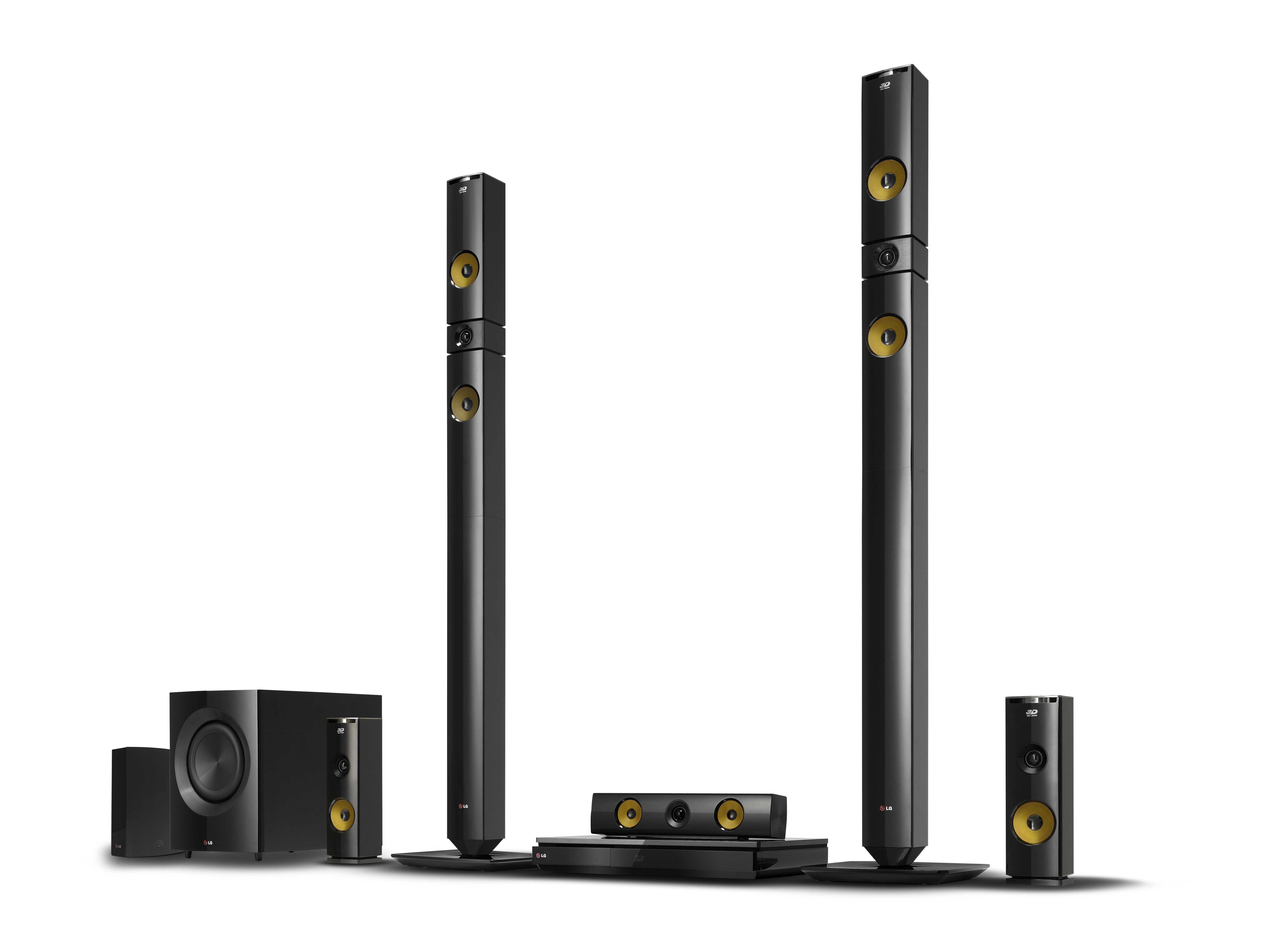 LG 2013 audio and video lineup including BH9430PW 9.1-channel speaker system, NB4530A Sound Bar, BP730 Blu-ray player with Smart TV features, the ND8630 Dual Docking Speaker and the NP6630 Portable Speaker.