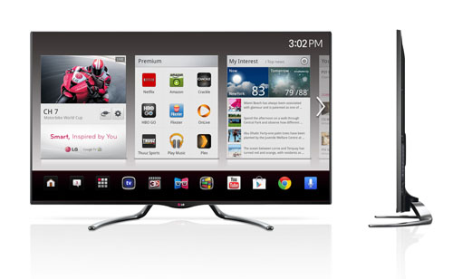Front and side views of the LG smart TV models GA7900 and GA6400.