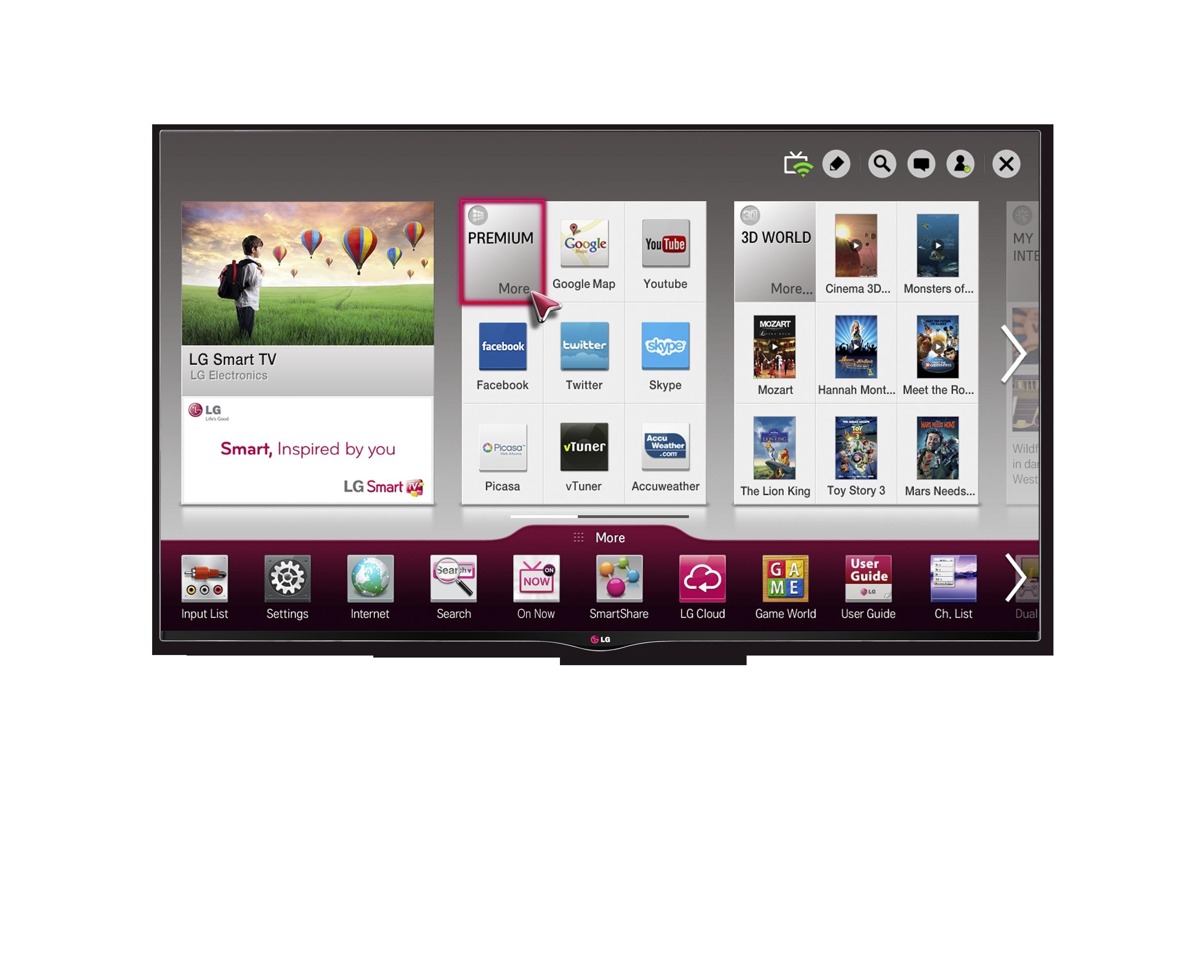LG's new CINEMA 3D Smart TV displaying the Smart Home screen