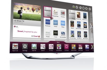 A left-side view of LG's new CINEMA 3D Smart TV displaying Smart Home screen
