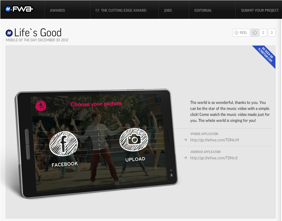 An explanation about LG's global Life's Good social campaign on the Favorite Website Awards.