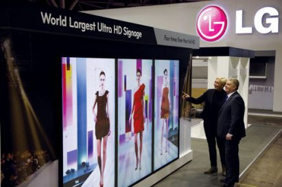 A 45 degrees clockwise view of the world's largest Ultra HD signage (model 84WT70) at ISE 2013