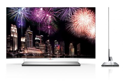 Front and side views of the LG 55-inch class (54.6-inch diagonal) WRGB OLED TV Model 55EM9700