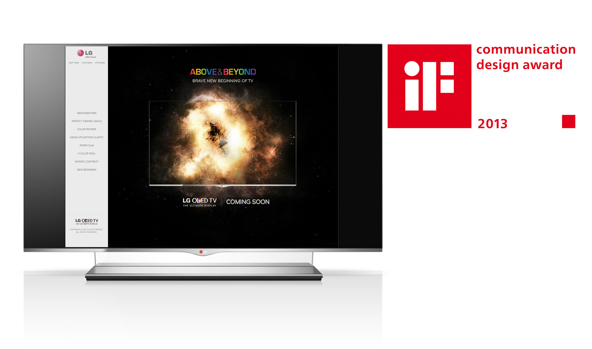 LG OLED TV displaying the main page of its microsite with the 2013 iF Design Award logo on the right