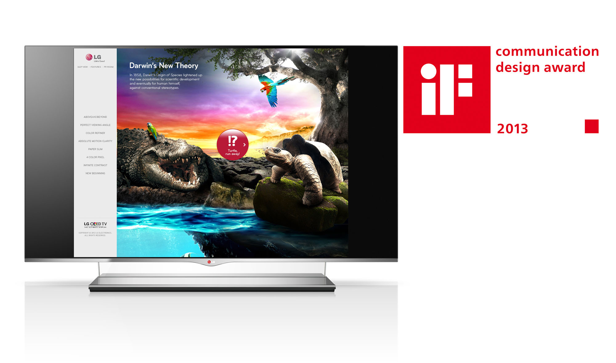 LG OLED TV displaying its microsite with the 2013 iF Design Award logo on the right
