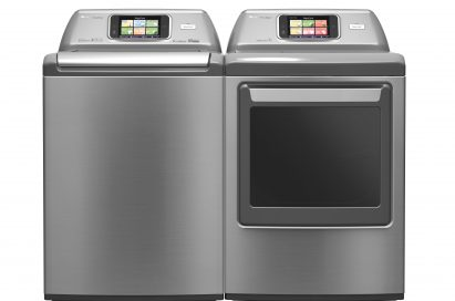 Front view of two LG smart washing machines