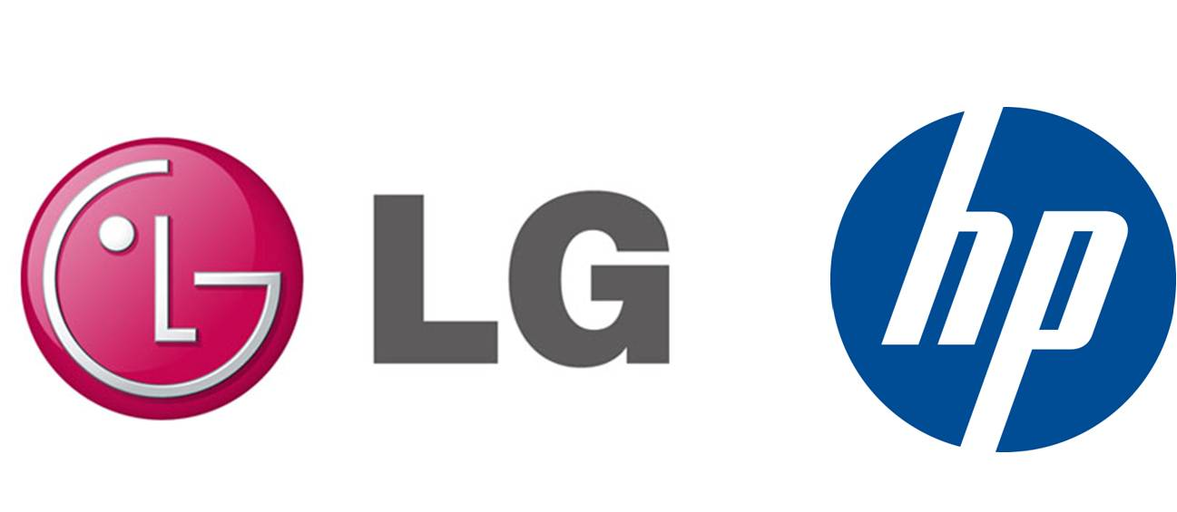 Logos of LG Electronics and HP