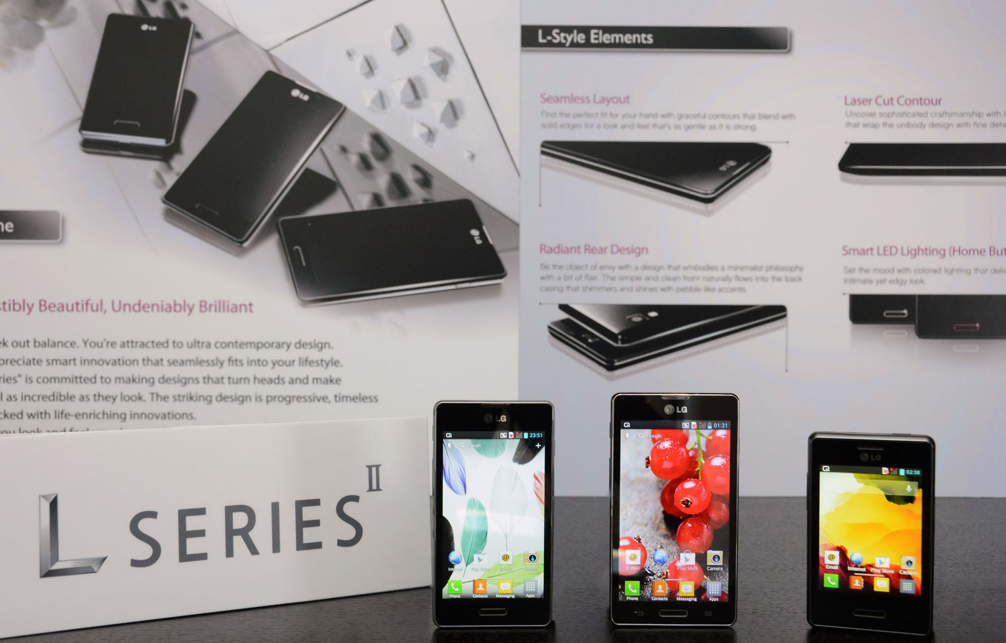 Optimus L SeriesII smartphones displayed on a table.
