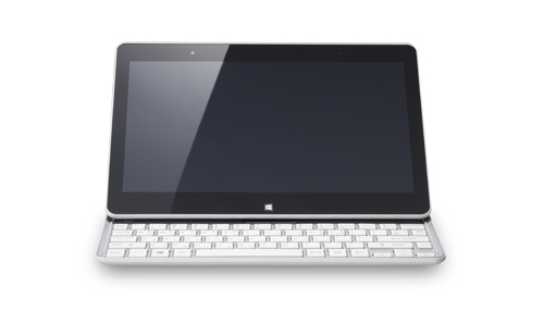 A front view of the LG Tab-Book with its keyboard revealed.