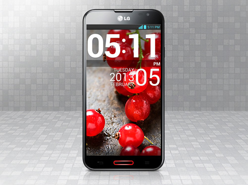 A front view of LG OPTIMUS G PRO with grey-colored background