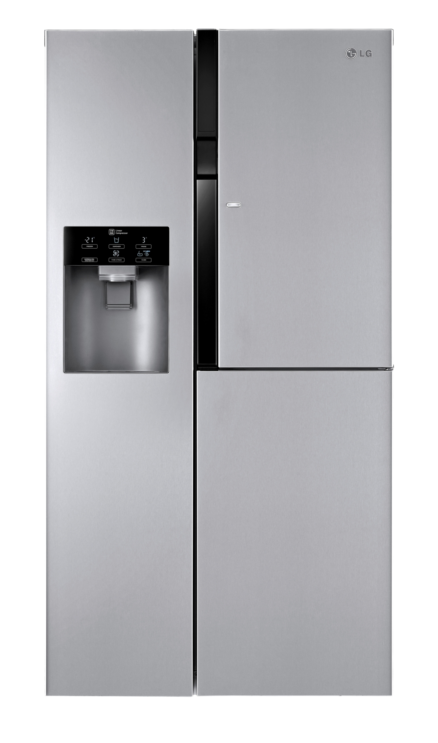 A front view of LG's side-by-side refrigerator with Door-in-Door system