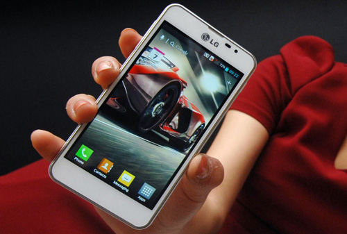 The LG Optimus F5 held by a model.