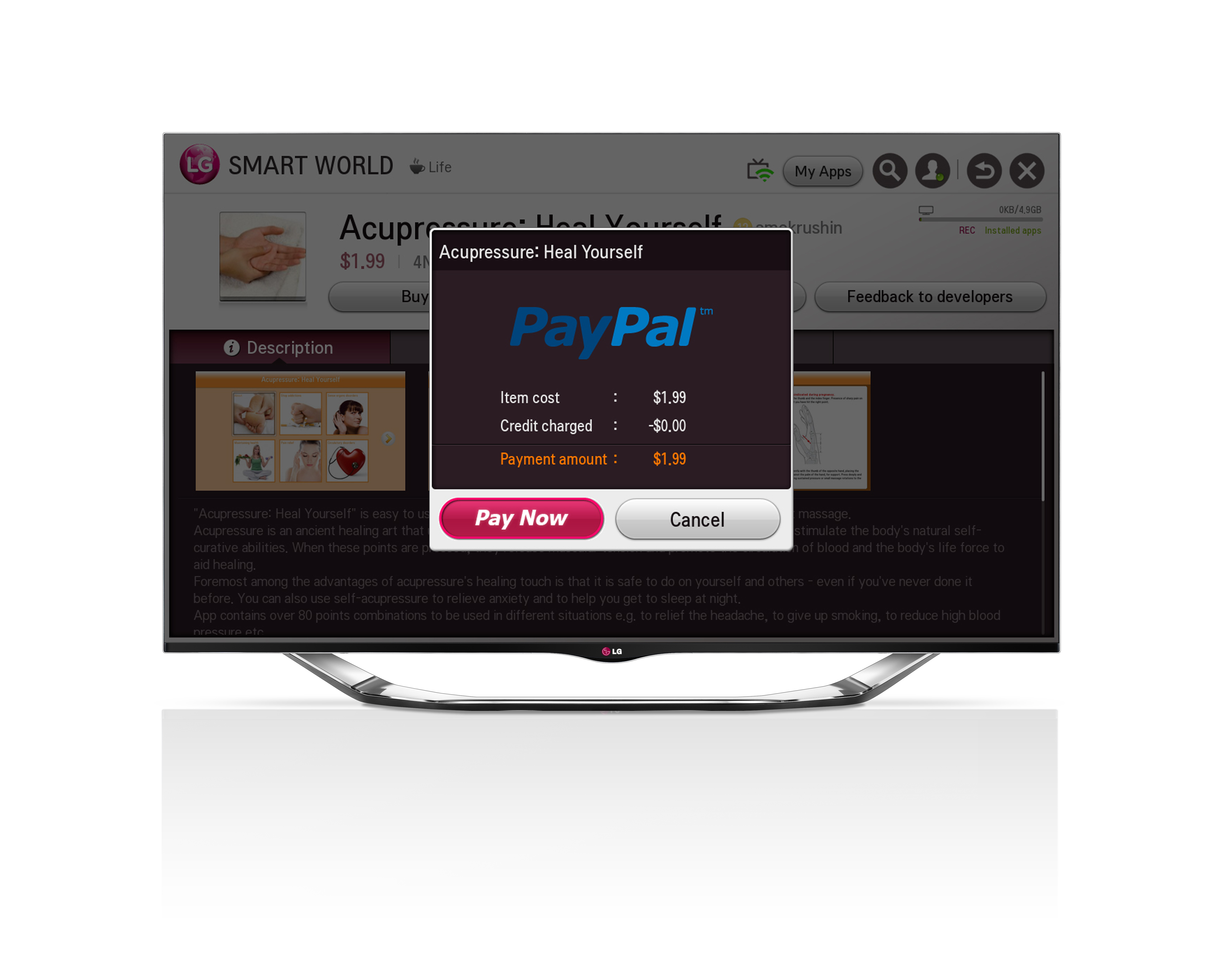A Paypal pop-up on LG's Smart TV platform