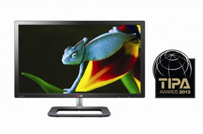 Front view of LG ColorPrime Monitor model 27EA83 with a 2013 TIPA Awards logo on the right side