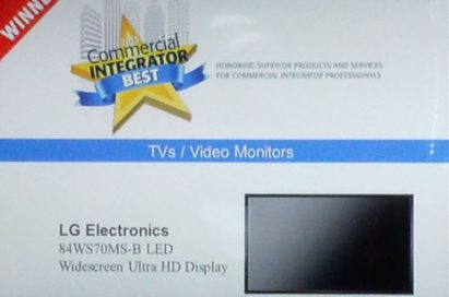 A screenshot of InfoComm 2013 website showing LG's 84-inch WS70MS-B Ultra HD LED Display at the bottom