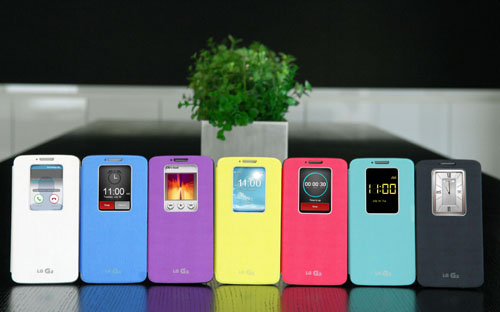 G2s wearing QuickWindowTM cases in seven colors are displayed; white, blue, purple, yellow, pink, mint and black.