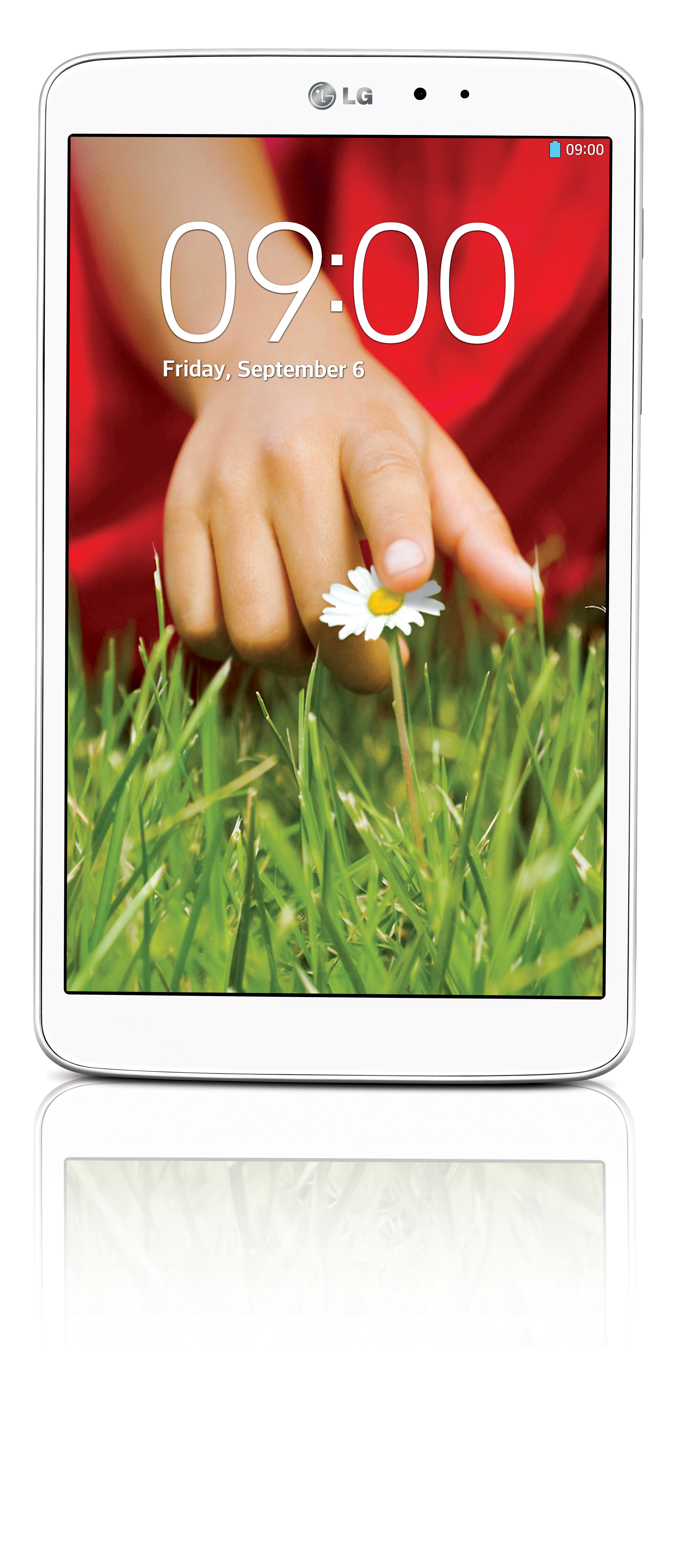 A front view of LG G Pad 8.3 in white color.