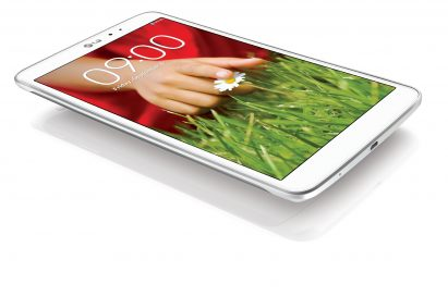 A side view of LG G Pad 8.3 in white while hovering over a white surface.