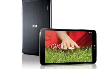 A back view of LG G Pad 8.3 stood and a front view of LG G Pad 8.3 lying on its side.