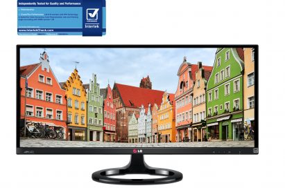 Front view of LG IPS 21:9 UltraWide Monitor model 29EA73 along with the Quality & Performance Mark (QPM) from Intertek in the top left corner