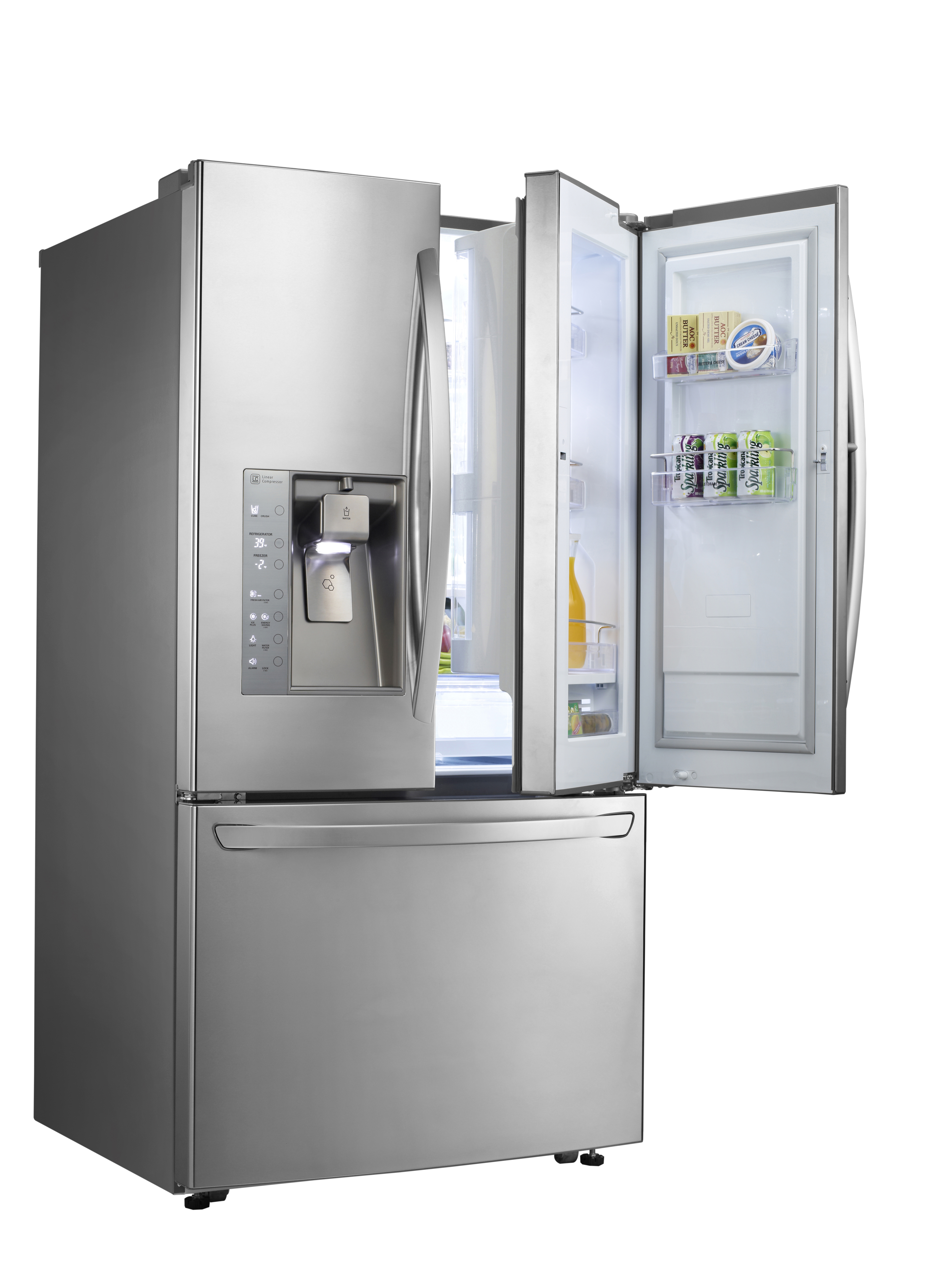 LG's three-door French-Door refrigerator with doors opened to show off its Door-in-Door feature