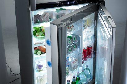 LG's top-freezer refrigerator with bottom door opened to show off its Door-in-Door feature