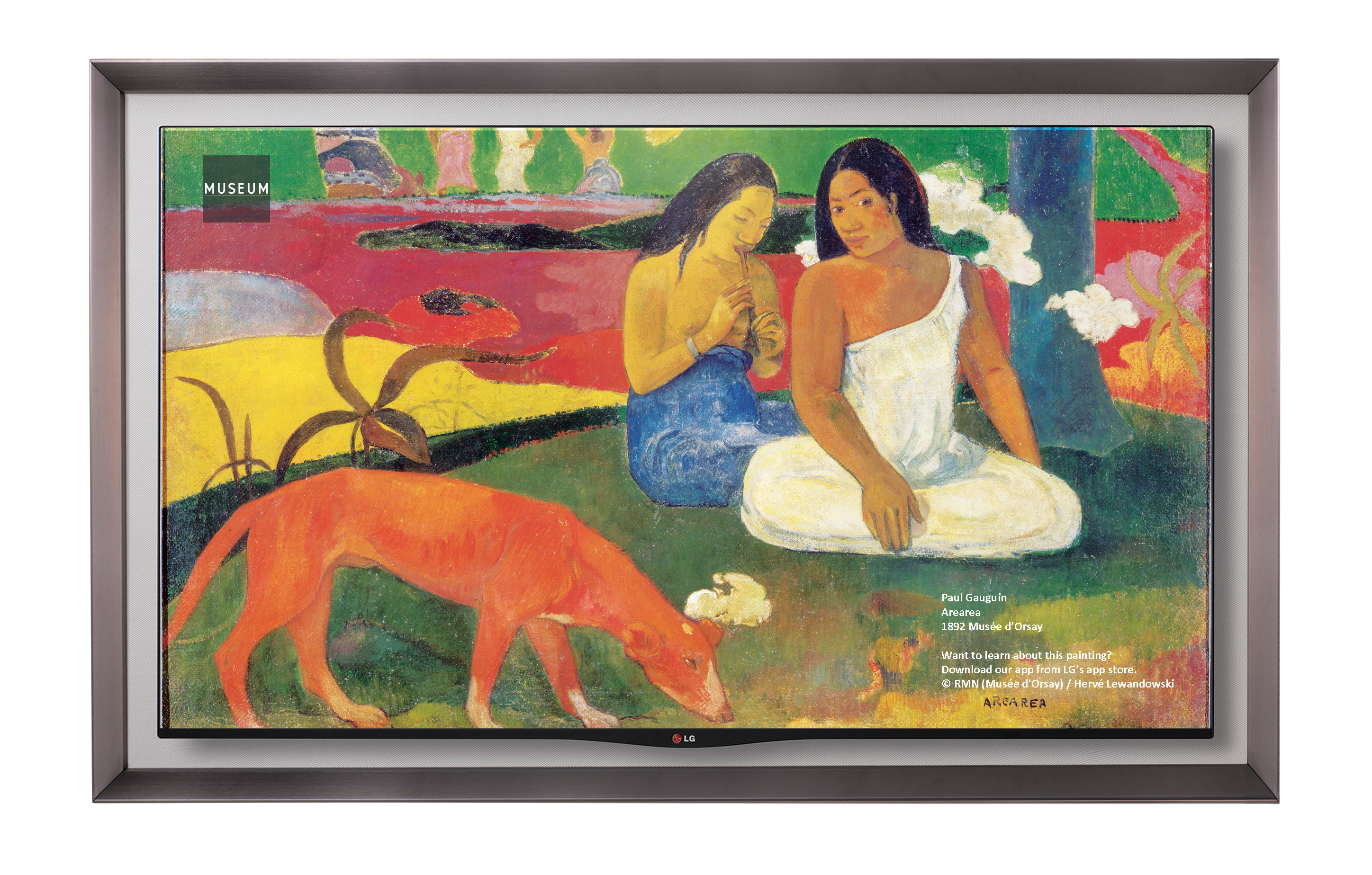 LG GALLERY OLED TV model 55EA8800 displaying one of Paul Gauguin's artwork