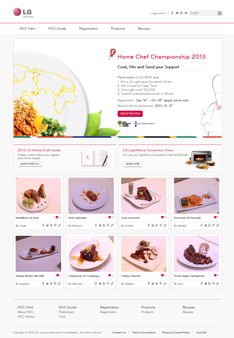 Screenshot of the LG website page kicking off Home Chef Championship 2013