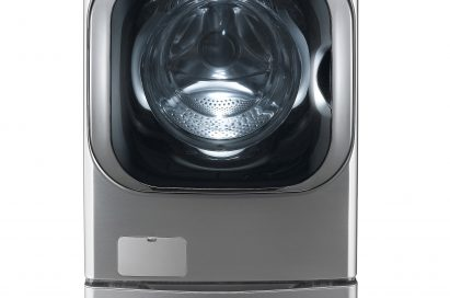 Front view of the LG front-load smart washing machine