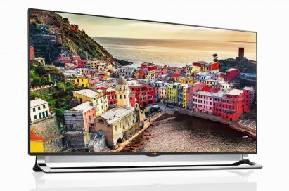 Front view of LG ULTRA HDTV model LA9700 displaying a colorful town by the sea