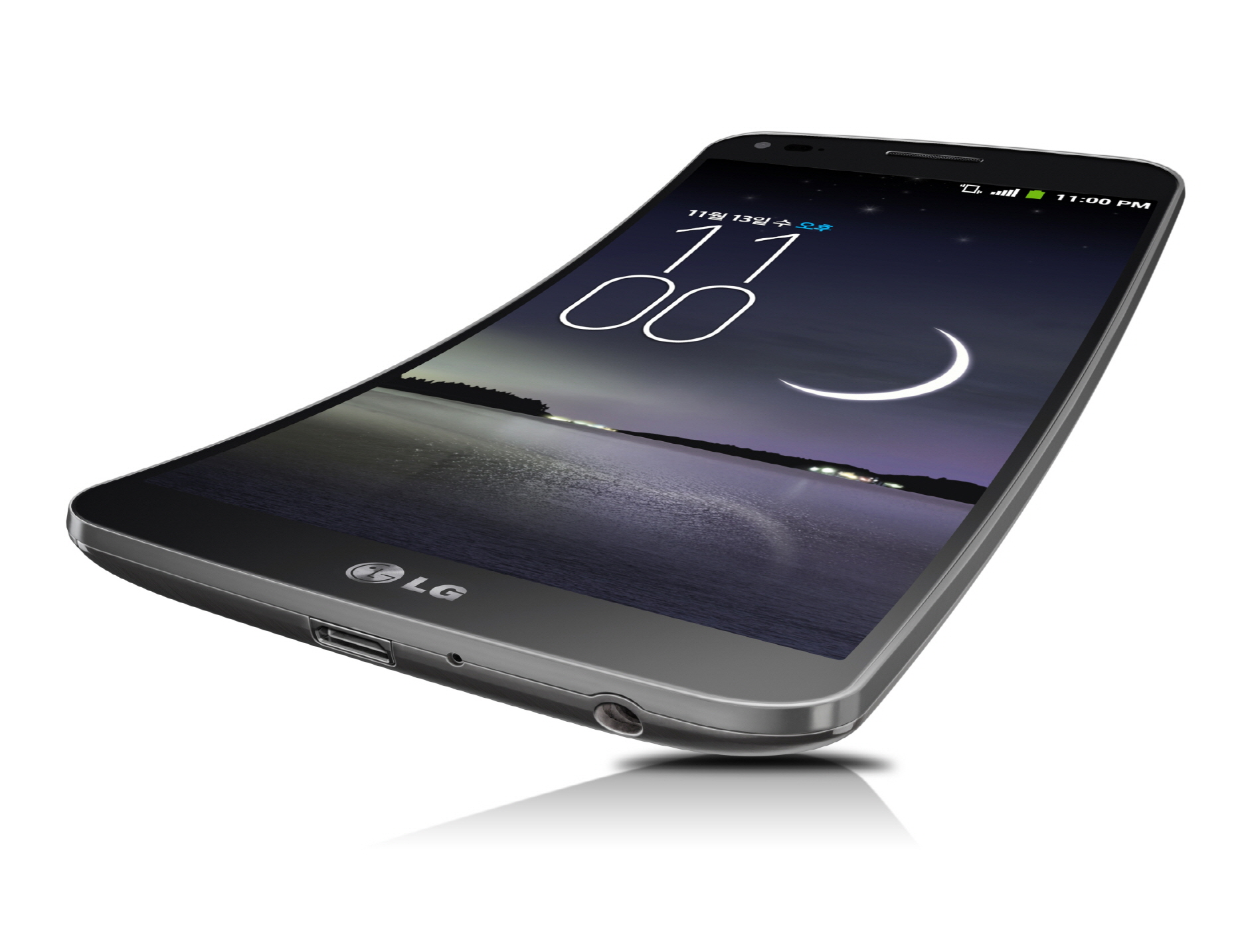A front view of the LG G Flex leaning back.