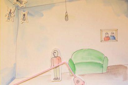 A drawing of a man gabbing his LG KOMPRESSOR™ vacuum cleaner