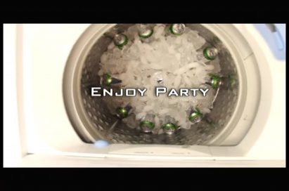 Another view of beverages staying ice-cold in the ice-filled washing machine with the text, 'enjoy party,' overlapping
