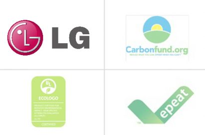 Clockwise from upper left; Logo of LG Electronics, the certificate of Carbonfund.org, the certificate of Repeat and the certificate of ECOLOGO.