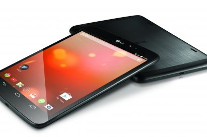 Two LG G Pad 8.3 Google Play Editions lying on a table – showing the front and back of the device.