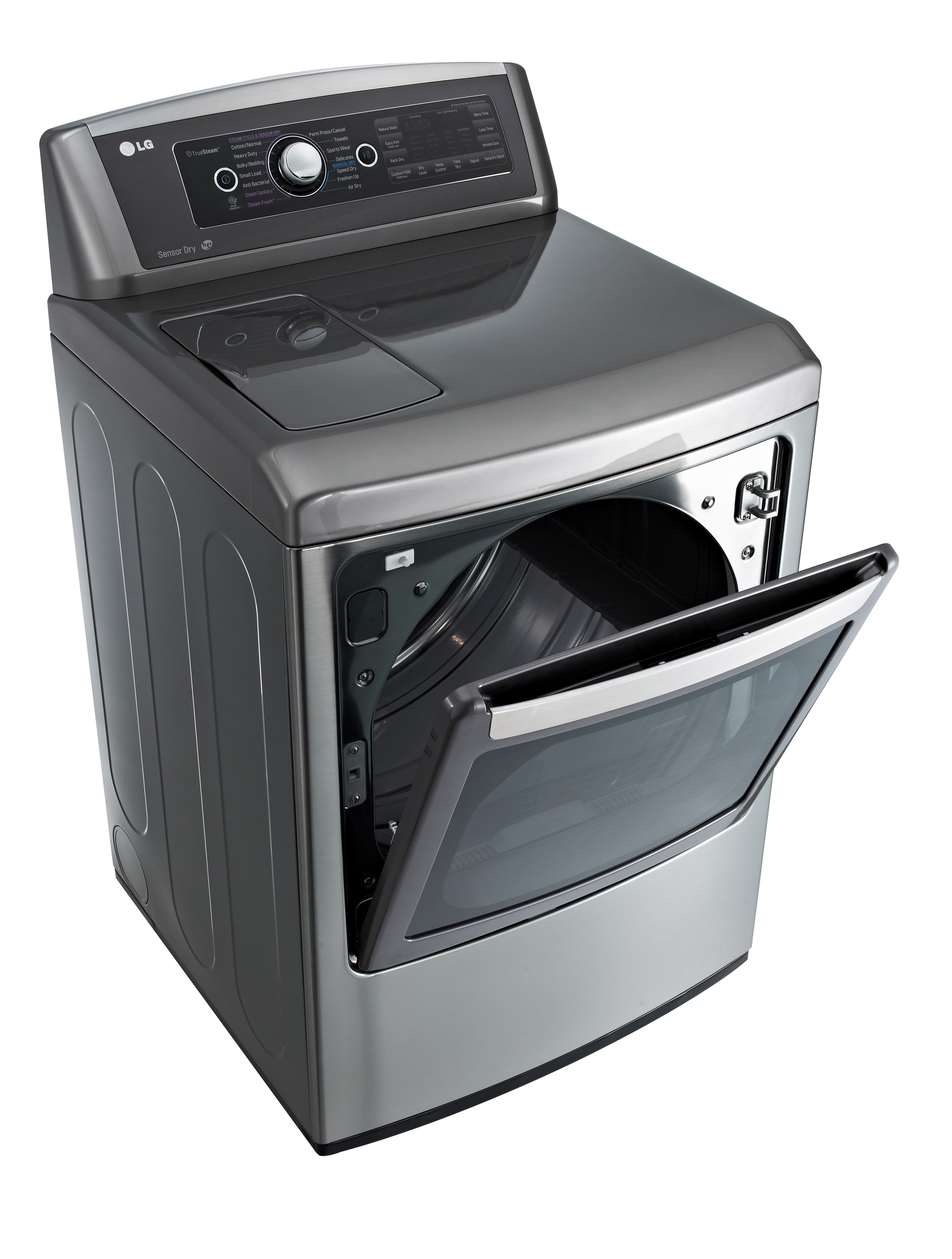LG front-load washing machine with door opened from the top downwards