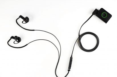 Above view of LG's Heart Rate Earphones