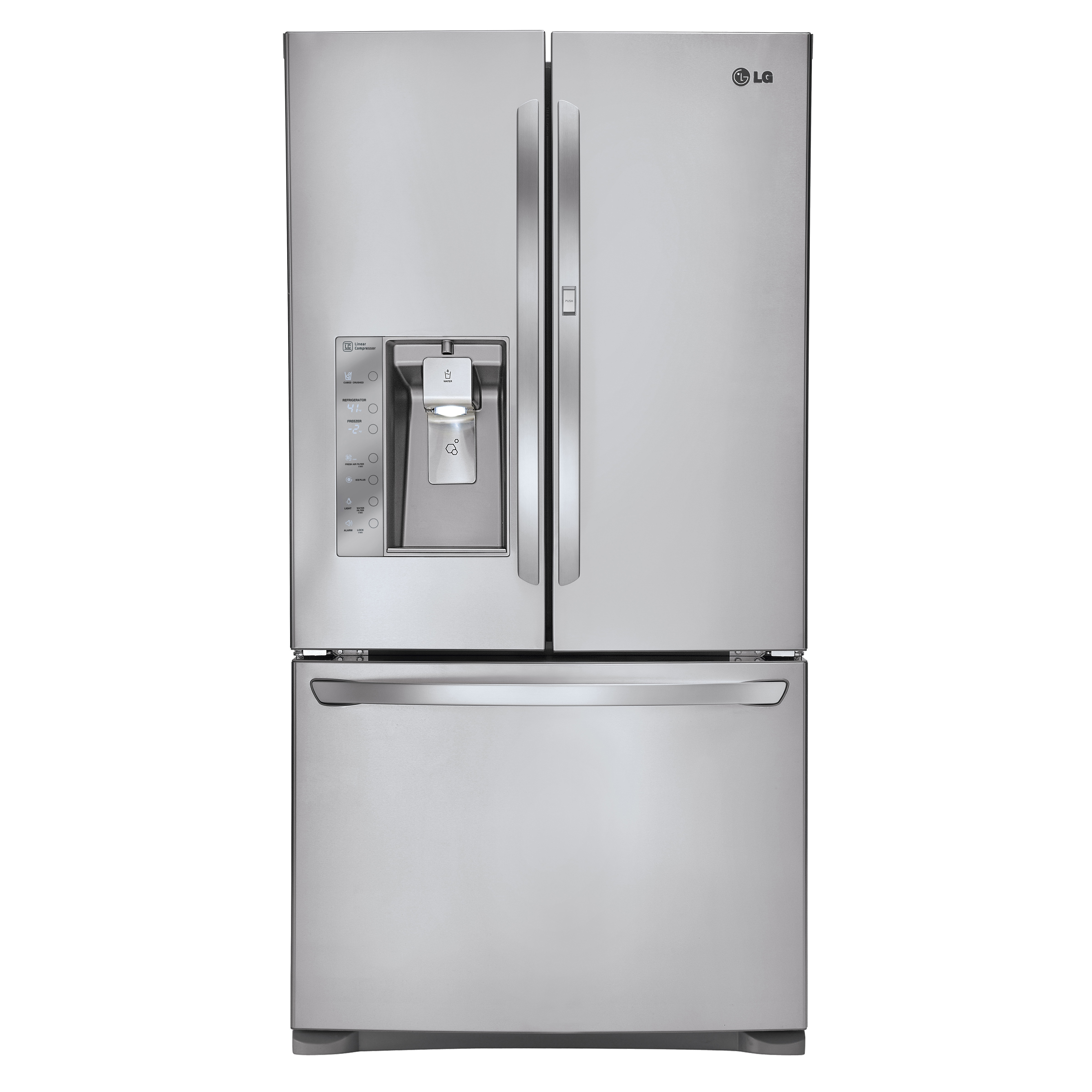 Front view of the LG three-door French-Door refrigerator with its ice and water dispenser on the left door.