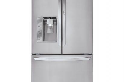Front view of LG's three-door French-Door refrigerator with ice and water dispenser on its left door