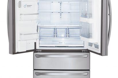 Front view of the LG four-door French-Door refrigerator with its upper doors opened