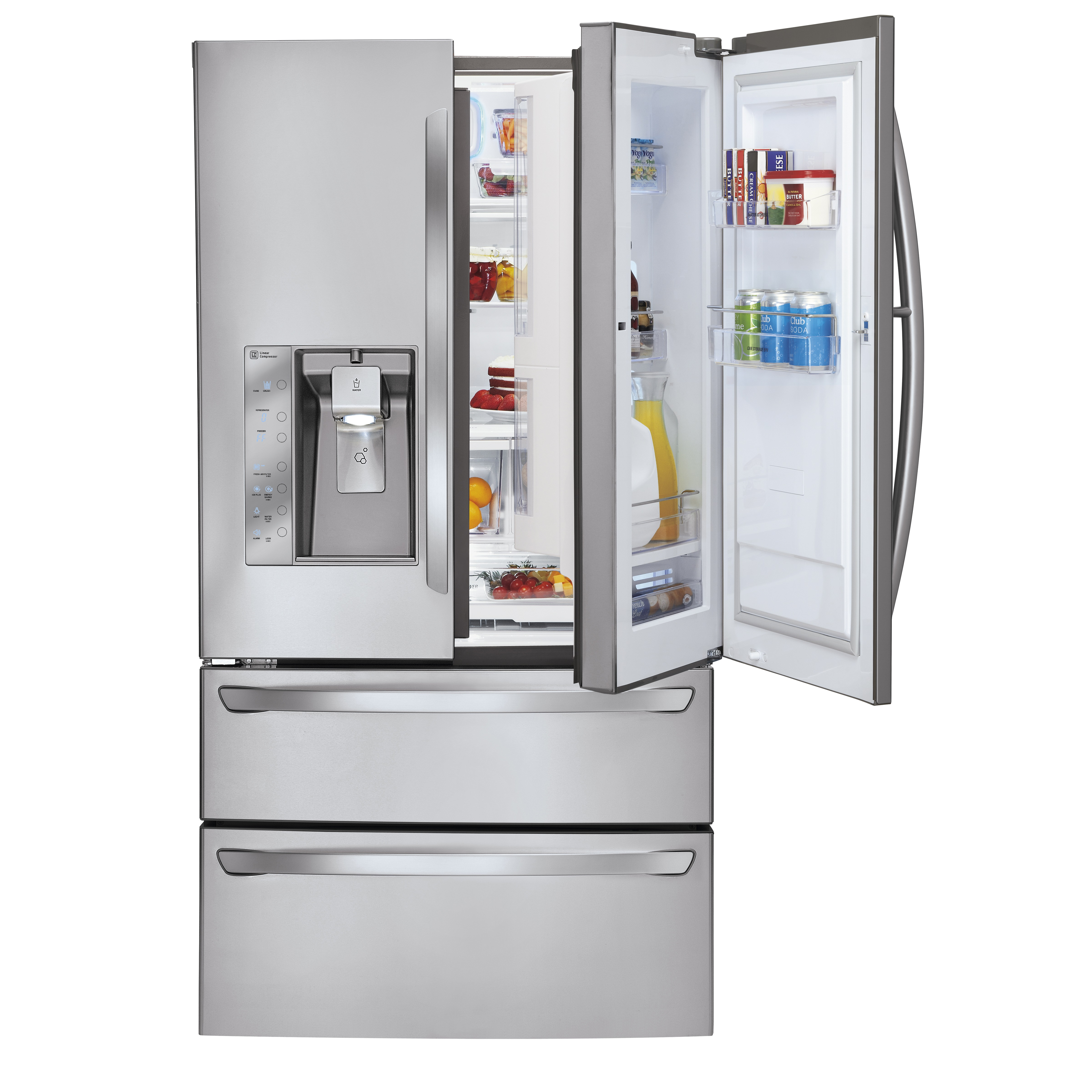 The LG four-door French-Door refrigerator with Door-in-Door feature on the right and ice and water dispenser on the left