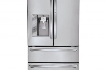 Front view of the LG four-door French-Door refrigerator