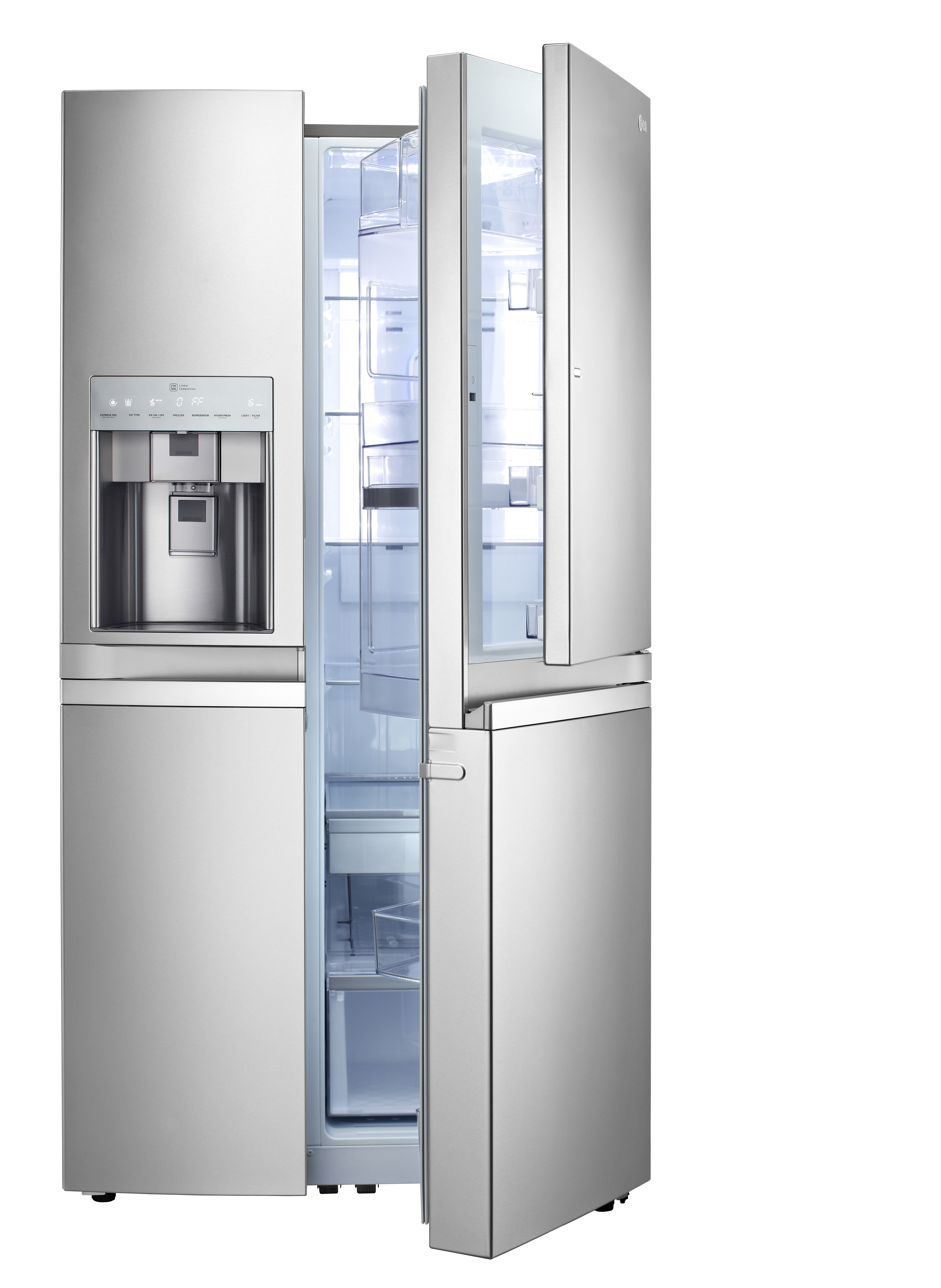 The LG French-Door refrigerator with Door-in-Door feature on the right and ice and water dispenser on the left