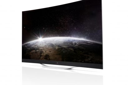 A right-side view of LG ULTRA HD CURVED OLED TV model 55EB9600