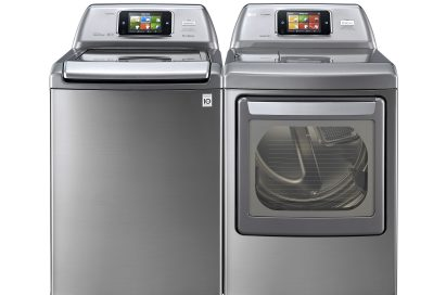 Front view of LG top-load washing machine and front-load dryer with projected control panel